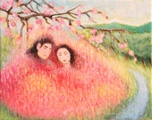 SFA Small Oil Painting Cherry Blossom Love Lovers Pink Red Spring Love 4 x 5 inches
