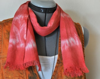 """Red Linen SCARF  - Scarlet Red Hand Dyed Tie Dye Hand Made Linen Scarf #61 - 8 x 50"""""""