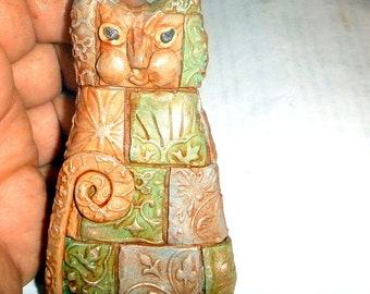 Spinx Cat polymer clay Egyptian type fat cat textured and antiqued