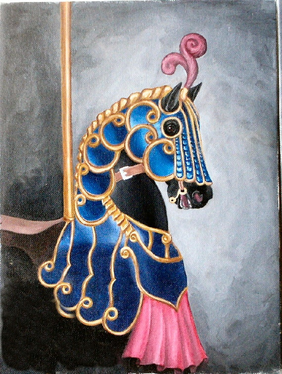 Carousel Horse painting - Original artwork armored horse in acrylic