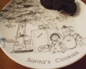 Personalized, Santa Cookie Plate, Childs Gift, Family Christmas Gift, Holiday, Cookie Plate,Holiday Tradition,