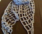 Denim and Tan Crochet Scarf