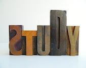Vintage Letterpress STUDY Printers Blocks Wood Type
