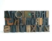 26 Piece Set of Vintage Wood Letterpress Type Full Alphabet a to z