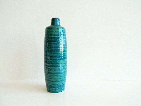 Mod teal and blue striped west german vase