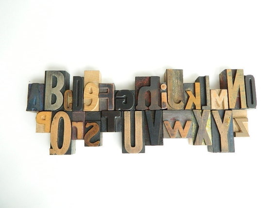 26 Piece Set of Vintage Wood Letterpress Type Full Alphabet A to Z