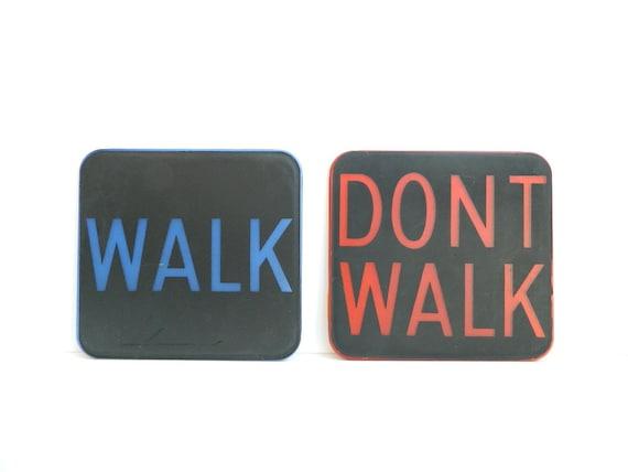 WALK and DONT WALK vintage plastic street traffic signs