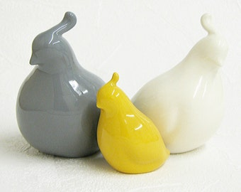 Ceramic Quail Family Bird Sculptures Mid Century Modern Minimalist Figurines in Gray Grey White Mustard Yellow - Made to Order