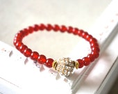 pave crystal and bright orange carnelian stackable bracelet
