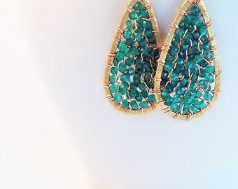 green onyx and 14K gold filled/vermeil- 'rachel' earrings