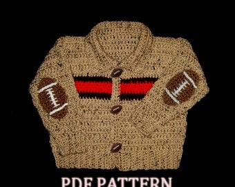 Little Cardigan, Sweater Jacket with football Patch on Elbows - INSTANT DOWNLOAD Crochet Pattern