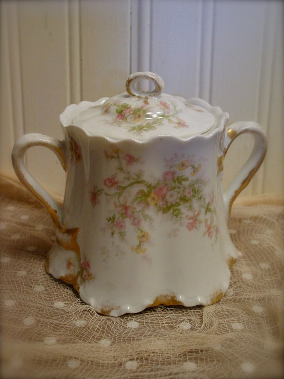 Vintage Limoges Haviland Sugar Bowl With Lid Pink Roses