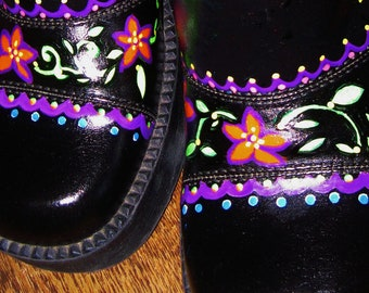 Hand Painted Platform Shoes/Hippie Shoes/Bohemian/Peace and Love/Size 8