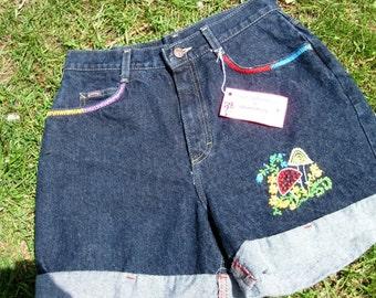 Sale / Hippie Jean Shorts / Blue Denim Shorts / Hand Embroidered / Mushrooms / Flowers / Wearable Art / Hippie / Boho / Size 12
