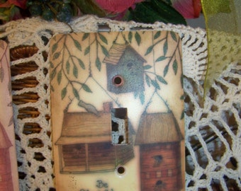 Vintage Birdhouse Theme Metal Lightswitch Cover