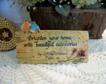 Vintage Porcelain Table Top Sign Accent Home Interiors and Gifts