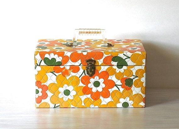 Circa 1960s Protex Sewing Box Mod Vinyl Flower Power