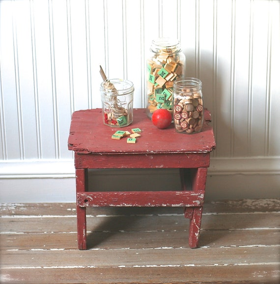 Vintage Red Wooden Stool Rustic Distressed Rough Crooked Primitive