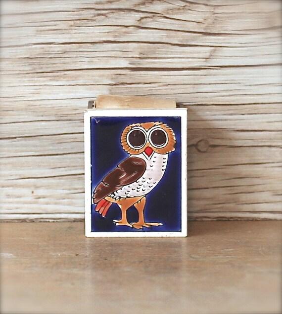 Vintage Owl Ceramic Tile Matchbox Cover Sleeve