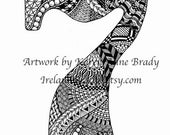 Number Seven, an ACEO Open Edition Authorized Art Print Zentangle Inspired by Karen Anne Brady