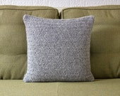 Pale Grey Hand Knitted Pillow / Cushion Cover