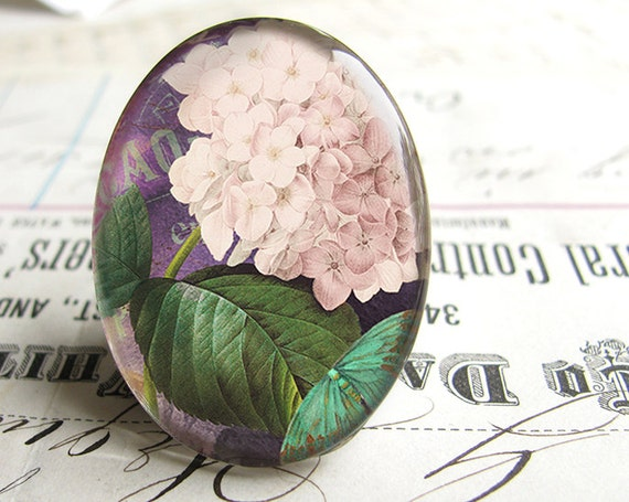 White hydrangea flower - handmade glass oval cabochon 40x30mm, green leaves, butterfly, purple background,  cab FF13