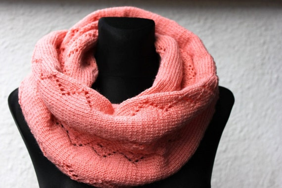 The neon apricot cowl, twist cowl warmer, super soft neck warmer, openwork cowl, autumn cowl, cowl  ready to ship