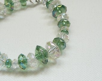 Green and Clear AB Acrylic Rondelle Bead Bracelet with Silver Toggle Clasp