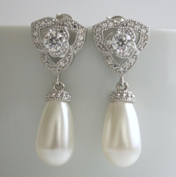 Luxury Pearl Jewelry White Pearl Earrings Teardrop Cubic Zirconia Bridal Earrings Sterling Silver with Swarovski Pearls Wedding Jewelry