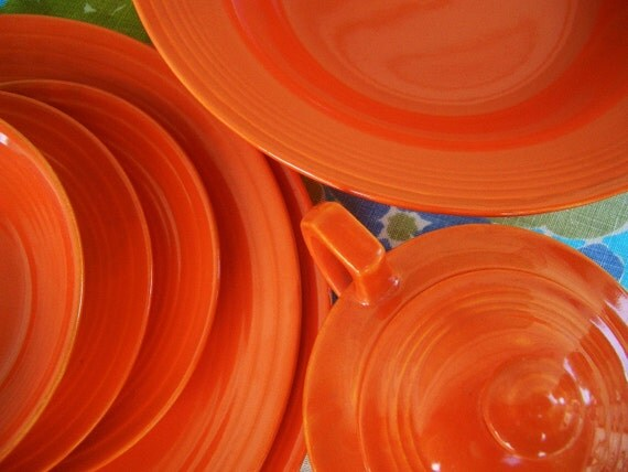 40s Dinnerware Orange Red Plates, Bowls, Sugar w/ Lid Saucers