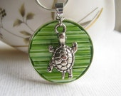 Stained Glass Turtle Necklace,  Lime Green Turtle Necklace, Mosaic Turtle, Turtle Pendant