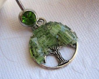 Stained Glass Tree Navel Ring, Tree Belly Button Ring, Belly Button Jewelry