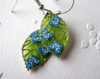 Stained Glass Mossy Leaf Earrings, Butterfly Earrings, Filigree Earrings, Small Leaf Earrings