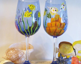 Ocean Tropical Fish Wine Glass Hand Painted  Reef Under the Sea Glass Wine Goblet (Custom Order Only)