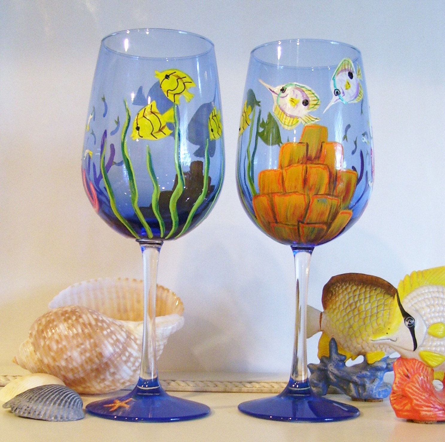 Ocean tropical fish wine glass hand painted reef under the for Pictures painted on glass