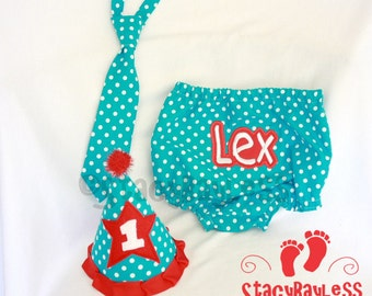 3 PIECE SET Teal and Red - Diaper Cover - Necktie for Cake Smash or First Birthday - Baby - Boys