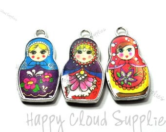 Colorful Russian Doll Enamel Charms... 4pcs