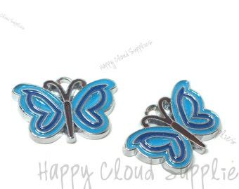 Blue Butterfly Enamel Charms... 4pcs