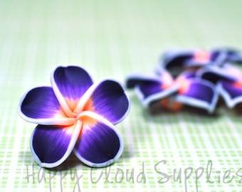 Purple Orange and White Polymer Clay Plumeria Frangipani Flowers... 4pcs