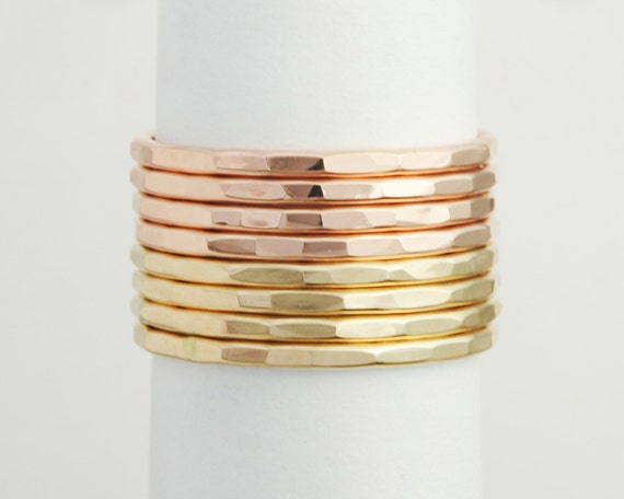 Rose and Yellow Gold Filled Ring Stack- set of 8