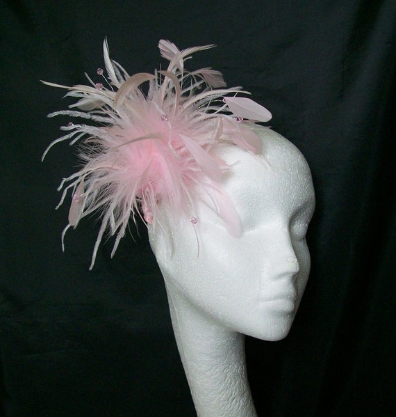 Pale Pink Mixed Feather & Crystal Pearl Wedding Races Fascinator Hair Comb or Band - Custom Made to Order