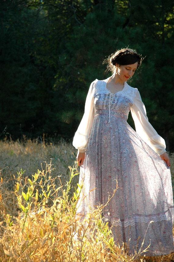 R E S E R V E D...... sold.......Gunne Sax Dress... Romantic Maxidress... Princess Maxi Dress... The Lady & The UNICORN (xs)