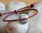 SOUL SISTER - or brother :) - girls / boys, custom, and personalized, leather, hand stamped sterling family friendship bracelet