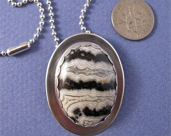 black/white crazy lace agate sterling silver pendant necklace