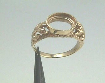 14K Art Nouveau Filigree Handmade Yellow Gold Ring  Mounting Setting for 10 x 8 mm Oval Stone Gemstone Faceted or Cabochon