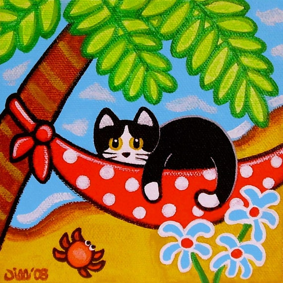 Tropical Tuxedo CAT on HAMMOCK by the Beach Folk Art PRINT from Original Painting by Jill