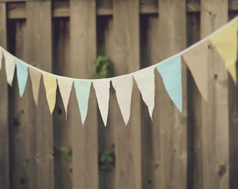 Buy 4 Get 1 Free ( 5 ) Strands Earthy Pastel Mint Blush Buttercup Fabric Bunting Garland Pennant Decoration 55 FT / Vintage Circus Style