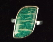 Sterling Silver and Green Amazonite Ring Size 8 1/4