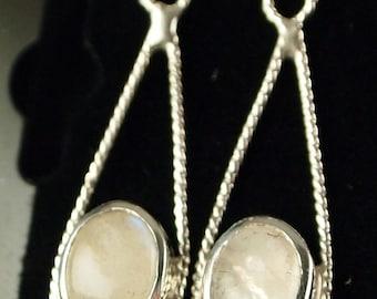 Sterling Silver and Moonstone  Drop Earrings