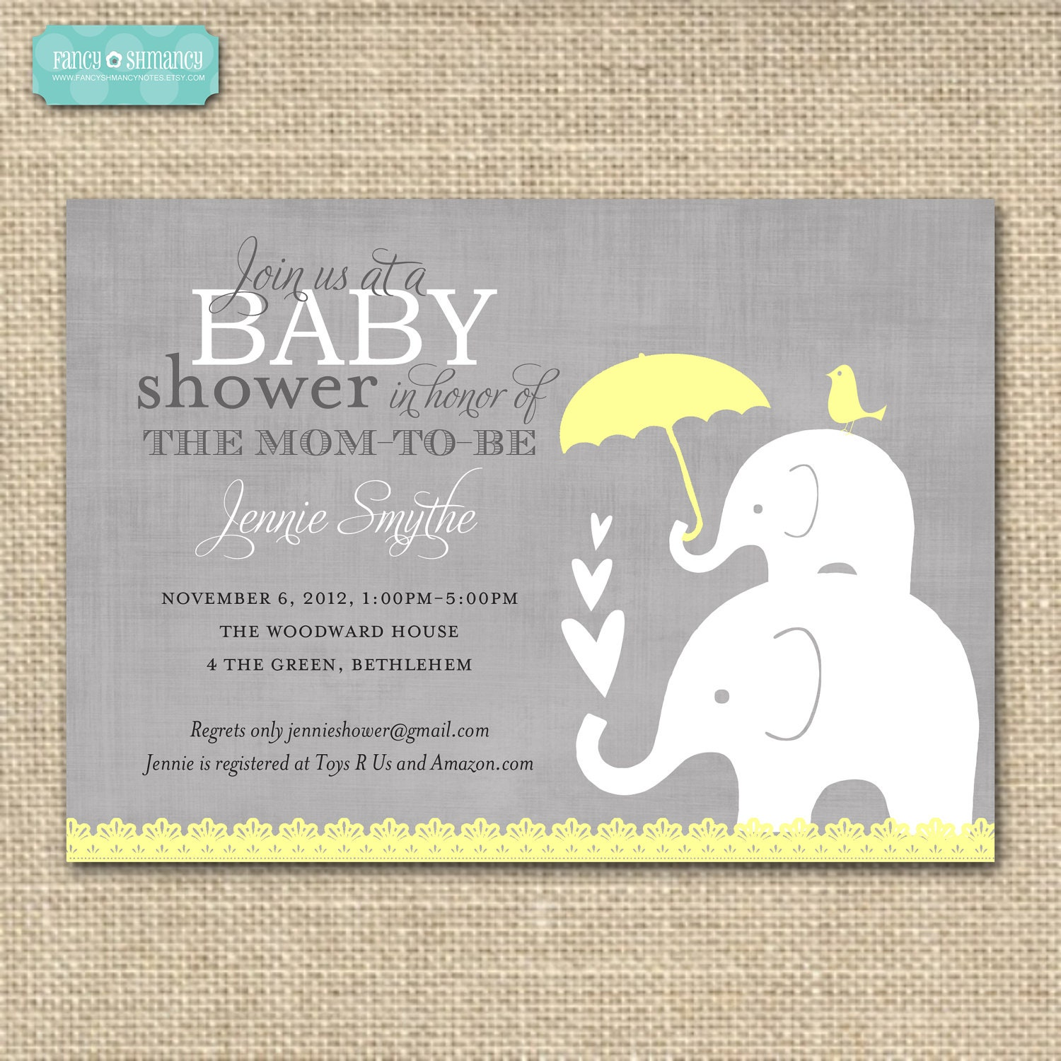 baby shower invitationelephant yellow and by fancyshmancynotes
